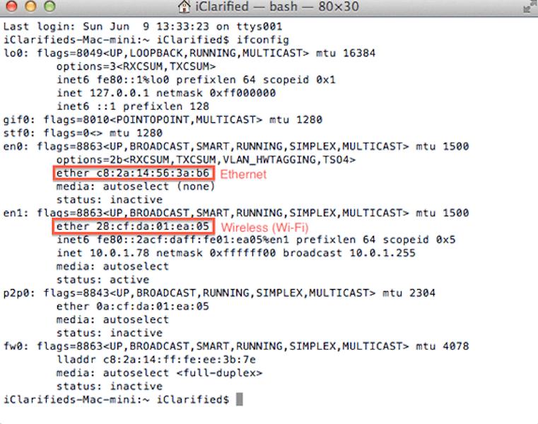 Find MAC address using Terminal