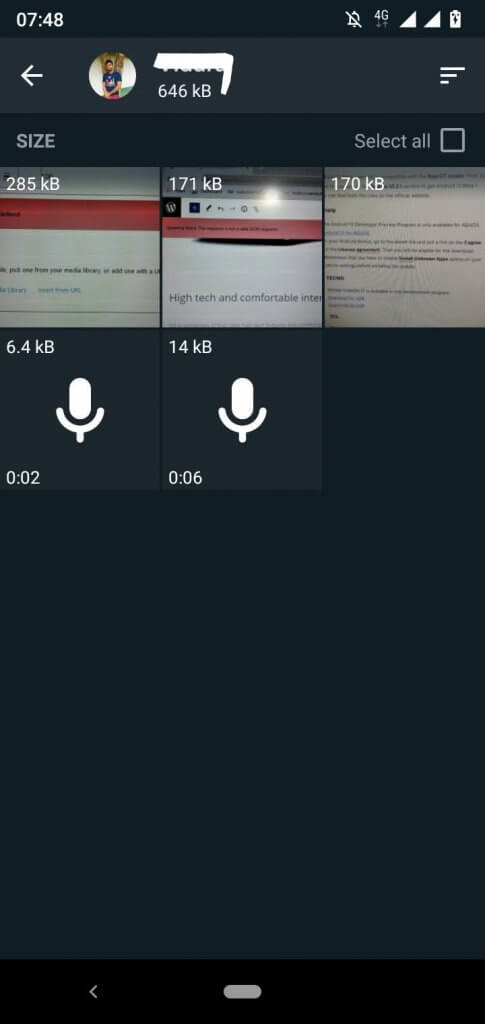 Media files of the relevant contact will be visible - how to empty trash on Android