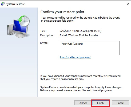 System Restore >> Finish - how to uninstall Nvidia drivers