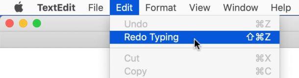 Use the edit menu to undo