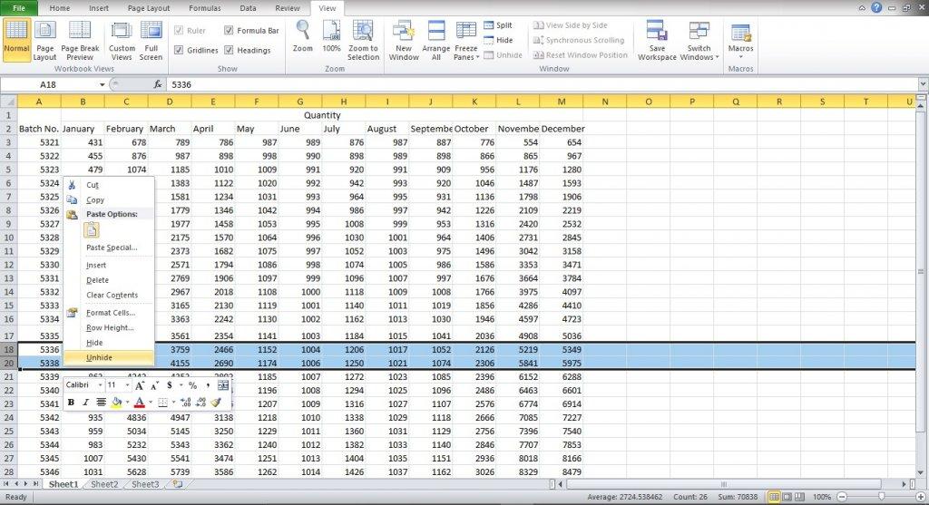 Unhide rows in Excel