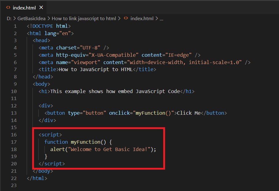 This image shows method 2 for link JavaScript to HTML