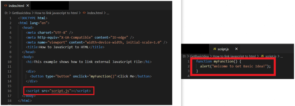 This image shows method 3 for link JavaScript to HTML