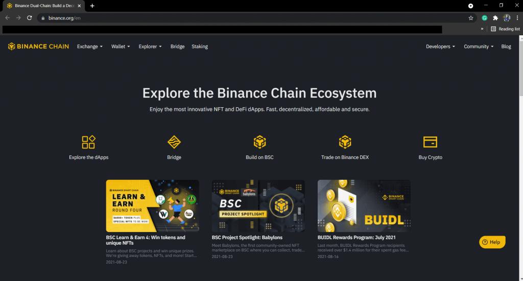 Binance Smart Chain interface.