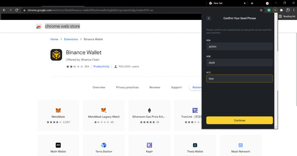 Confirm BSC wallet seed phrases.