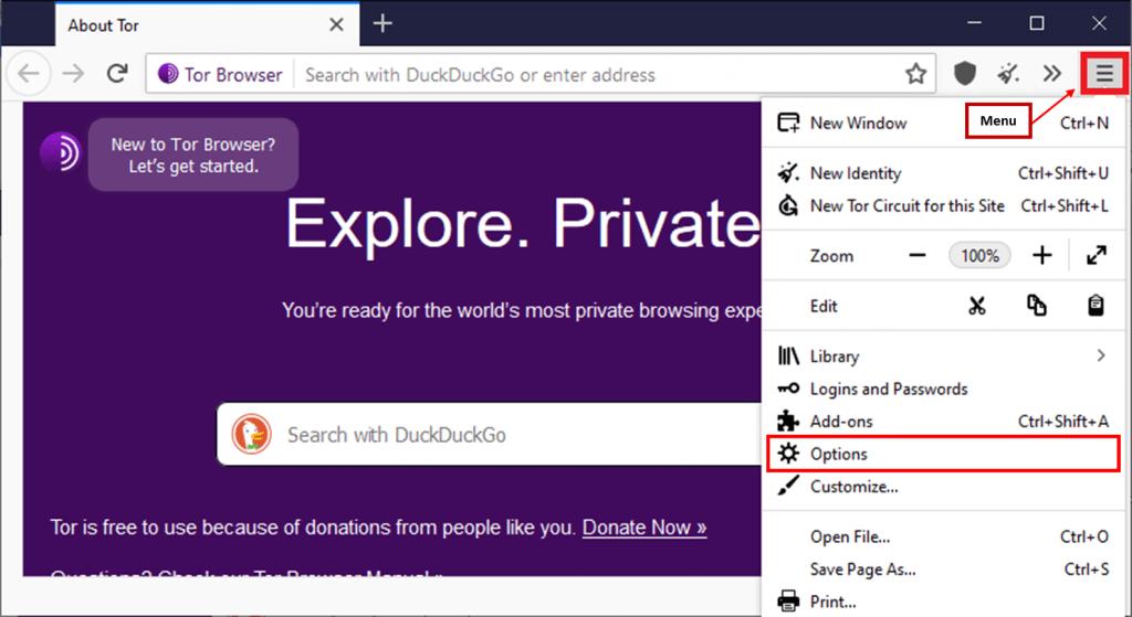 Tor browser menu.