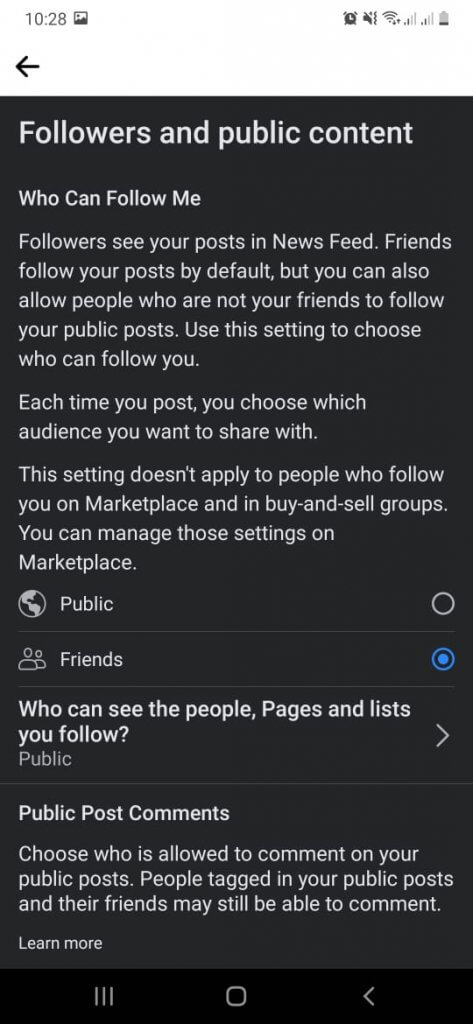 Followers and public content window- Turn off comments on Facebook posts.